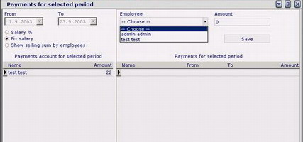 Pay-roll list is integrated in Cafe software, Store management software and Medical billing software